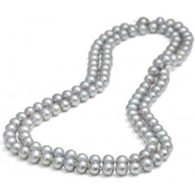 Jersey Pearl Long Silver Pearl Necklace