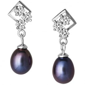 Jersey Pearl Peacock Pearl Cubic Zirconia Earrings