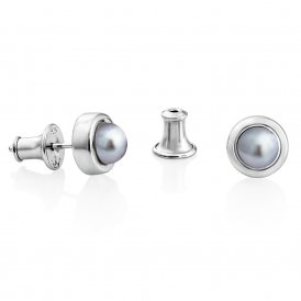Jersey Pearl Silver-Grey Alice Small Stud Earrings