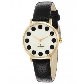 Kate Spade Ladies Metro Black Leather Watch 1YRU0107