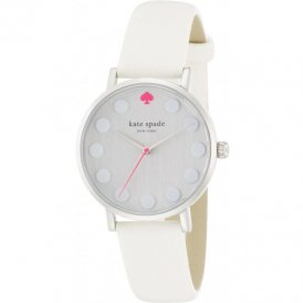 Kate Spade Ladies Metro Dot White Saffiano Watch 1YRU0733