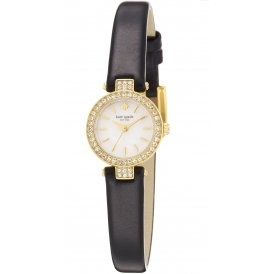 Kate Spade Ladies Tiny Pave Metro Black Leather Watch 1YRU0720