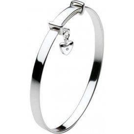 Kit Heath Kids Dinky Diamond Heart Silver Bangle ~ D7J3HP
