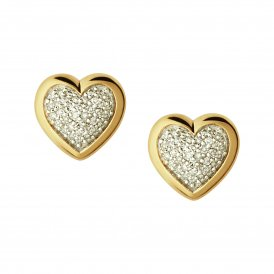 Diamond Essentials Pave Heart Stud Earrings - Gold ~ 5040.2411