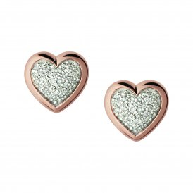 Diamond Essentials Pave Heart Stud Earrings - Rose Gold ~5040.2412