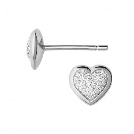 Diamond Essentials Pave Heart Stud Earrings - Silver ~ 5040.2410
