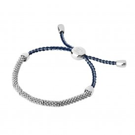 Links Of London Silver Effervescence Blue Cord Bracelet