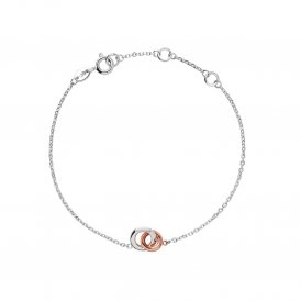 Links Of London Silver & Rose Gold Mini Bracelet ~ 5010.3177