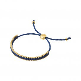 Links Of London Yellow Gold Navy Cord Mini Friendship Bracelet