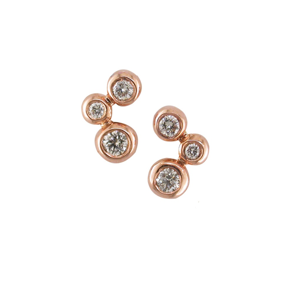 0770f049dfbb0e London Road Bubble 3-Stone Diamond Stud Earrings ED893 RG ...