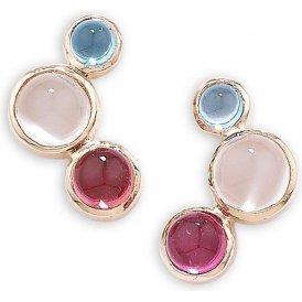 London Road Designer Bubble Rose Multi-Gem Stud Earrings AE525