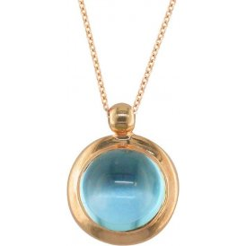 London Road Rose Gold Bubble Blue Topaz Pendant AP232 BT