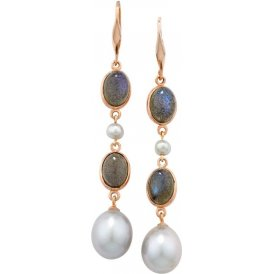 London Road Rose Gold Labradorite & Pearl Earrings AE541 LAB