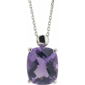 London Road White Gold Amethyst Pendant AP211 AM