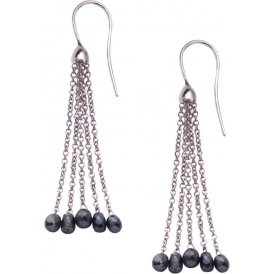 London Road White Gold Black Diamond Tassel Drop Earrings ED906