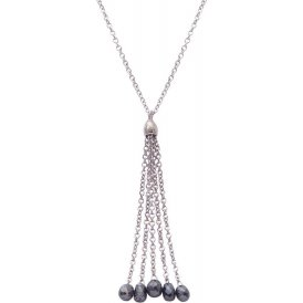 London Road White Gold Black Diamond Tassel Pendant PO956