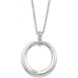 London Road White Gold Elegant Circle Pendant PO902 WG