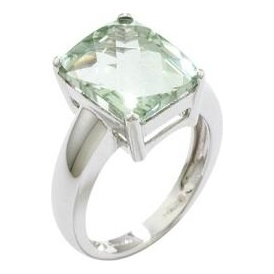 London Road White Gold Green Amethyst Ring D64 GAM