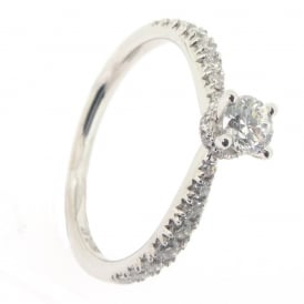 Maple Leaf Platinum Fancy Solitaire Diamond Ring