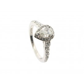 Maple Leaf Platinum Pear-Shaped Cluster Diamond Ring