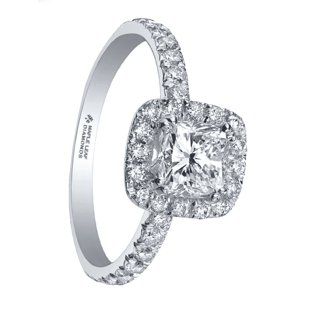 Maple Leaf Princess Cut Diamond Halo Engagement Ring 0 86ct Engagement And Wedding From Sarah Layton Jewellery Uk