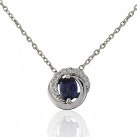 Mark Milton White Gold Sapphire & Diamond Pendant