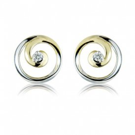 Mark Milton Yellow & White Gold Diamond Circle Earrings