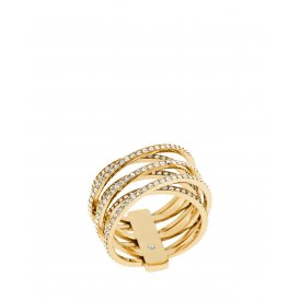 Michael Kors Gold Tone Pave Crossover Ring MKJ4422710-508