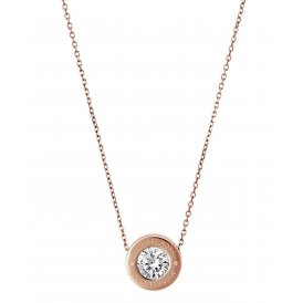 Michael Kors Rose Gold Clear Logo Necklace