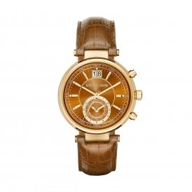 Michael Kors Sawyer Gold Tone And Embossed Leather Watch MK2424