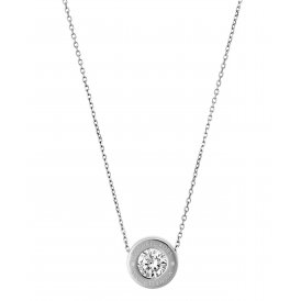 Michael Kors Silver Clear Logo Necklace