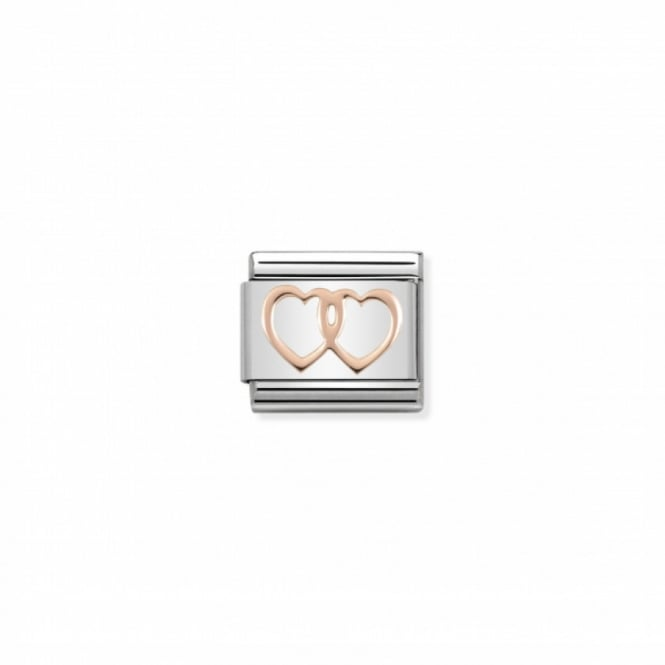 Nomination Classic Double Hearts Link - Silver/Rose Gold ~ 430104/08