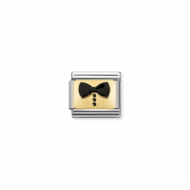 Nomination Composable Gold Black Bow Tie Link ~ 030280/34