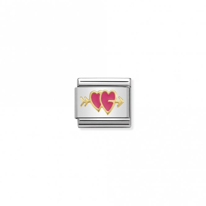 Nomination Composable Gold Fuchsia Double Heart Link ~ 030283/15