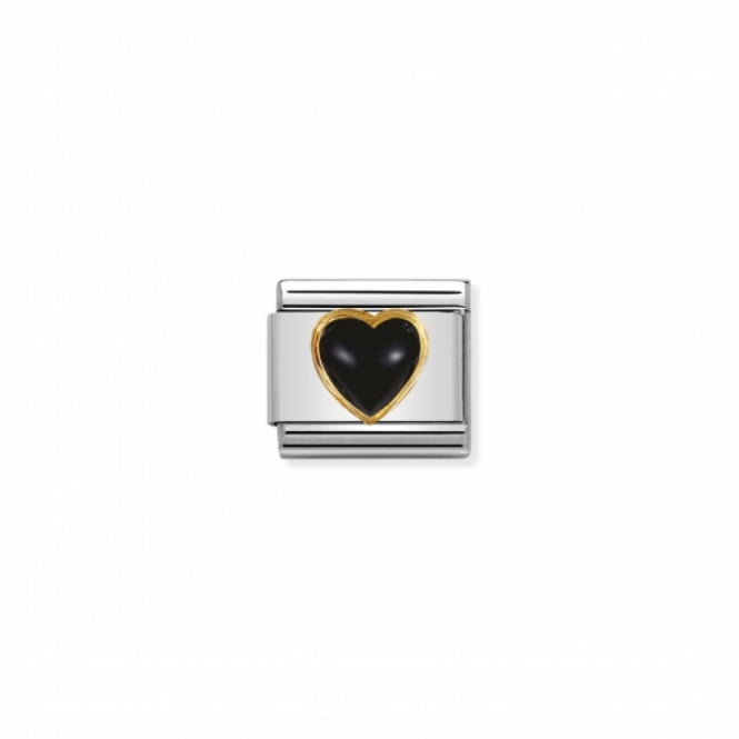 Nomination Composable Gold Heart Black Agate ~ 030501/02