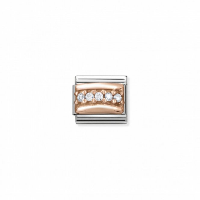 Nomination Composable Rose Gold White Pave Link ~ 430304/01
