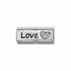 Nomination Composable Silver Love Heart Double Link ~ 330731/05