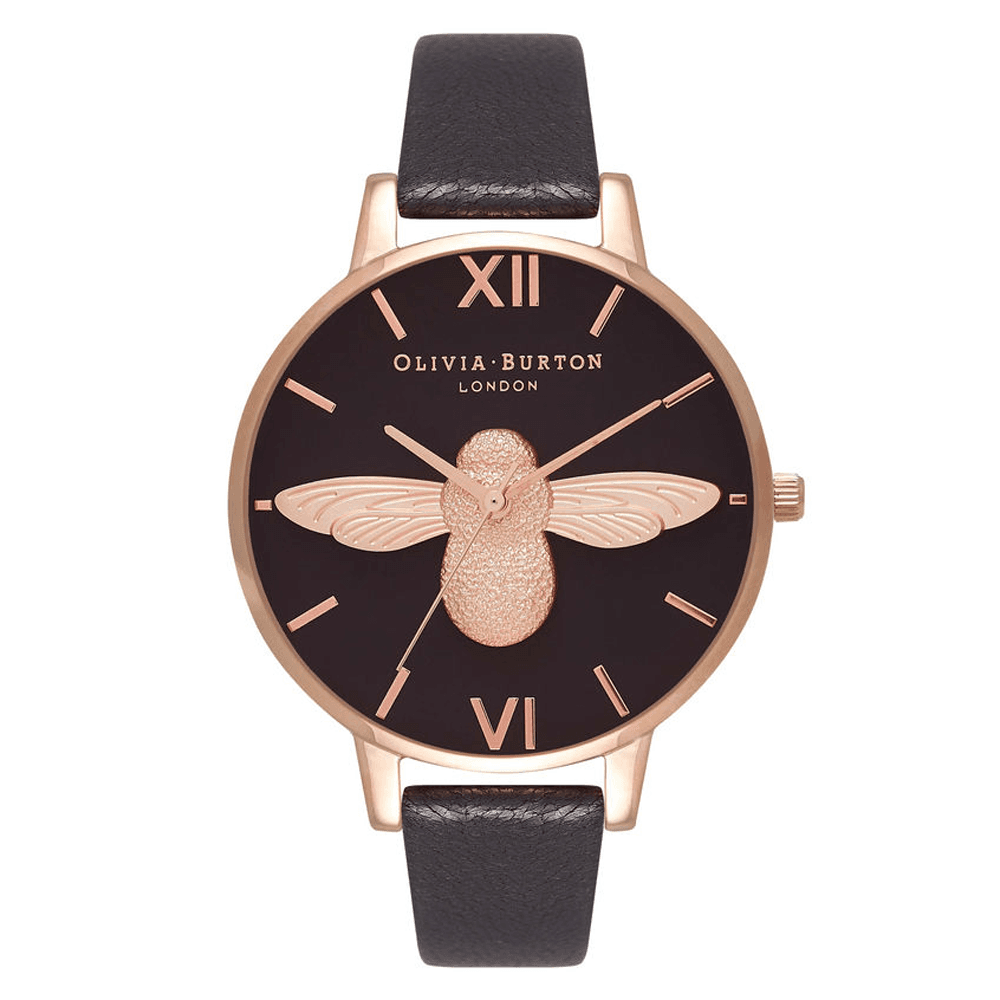 e8e428a645ee Olivia Burton 3D Bee Black Dial & Rose Gold Watch ~ OB16AM98