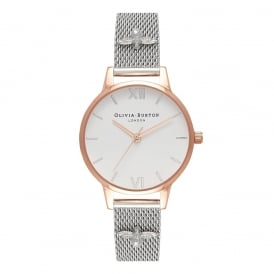 Olivia Burton 3D Bee Embellished Rose Gold & Silver Mesh Watch ~ OB16ES04
