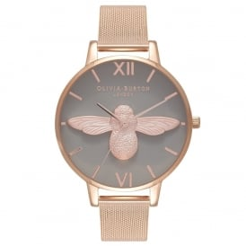 Olivia Burton 3D Bee Grey and Rose Gold Mesh Watch ~ OB16AM117