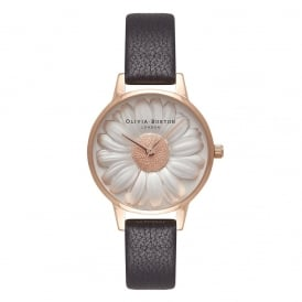 Olivia Burton 3D Daisy Black and Rose Gold Watch ~ OB16FS97