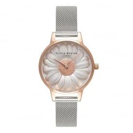 Olivia Burton 3D Daisy Rose Gold and Silver Mesh Watch ~ OB16FS94