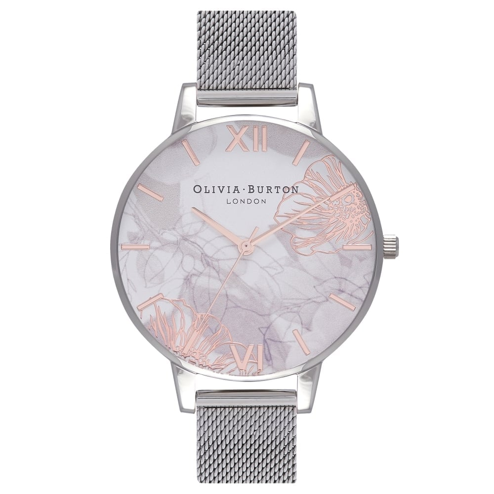 4d4977794a33 Olivia Burton Abstract Florals Rose Gold and Silver Mesh Watch ~ OB16VM20