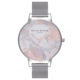 Olivia Burton Abstract Florals Rose Gold and Silver Mesh Watch ~ OB16VM20