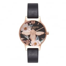Olivia Burton Bejewelled Florals 3D Bee Black & Rose Gold Watch ~ OB16BF05