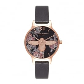Olivia Burton Botanical 3D Bee Black and Rose Gold Watch ~ OB16AM100