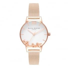 Olivia Burton Busy Bees Rose Gold Mesh Watch ~ OB16CH01