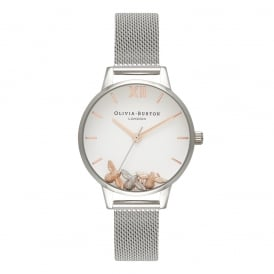 Olivia Burton Busy Bees Rose Gold & Silver Mesh Watch ~ OB16CH02