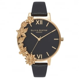 Olivia Burton Case Cuff Black and Gold Watch ~ OB16CB07