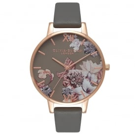 Olivia Burton Floral Dark Grey and Rose Gold Watch ~ OB16CS08